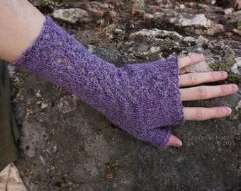 Lilac Knitted Fingerless Gloves