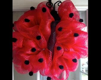 Ladybug Decomesh Wreath