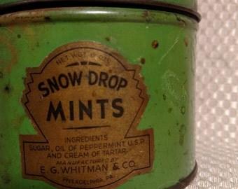 VINTAGE CANDY TIN , 1940'S snow drop mints ( rare )