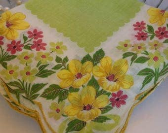 Yellow Flower Hanky, Floral Handkerchief