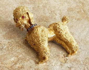 Vintage 14K Gold Poodle Pin with Rubies and Sapphires - Gold Dog Pin - 14 kt Gold Dog Brooch - Gold Poodle Brooch - Roca Fine and Dandy