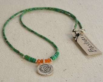 Delicate Green Turquoise Necklace - Turquoise and Carnelian Necklace w/Thai silver Ohm Charm - Gift for Her - Necklace with Ohm Pendant