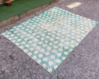 5'6x7'4 feet, muted turquoize rug ,overdyed rug ,floor rugs ,distressed rugs,suquare rug ,overdyed turkish rug,Turkish Rug,turquoize, 4330