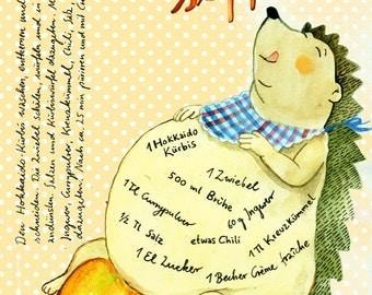 Pumpkin soup - illustrated recipe postcard