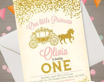 First Birthday Princess Invitation Pink & Gold Glitter Princess Birthday Invitation Princess Party Invite Little Princess Carriage Printable