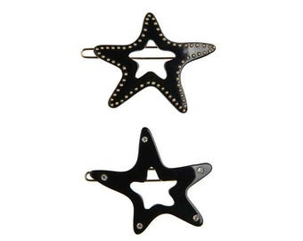 """Turtle Story 2x Glam Star Premium Cellulose Acetate (""""Turtle shell"""") Handmade French Hair Clips (Glossy Black)"""