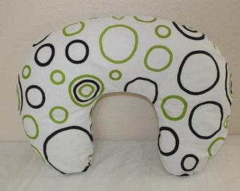 Boppy Pillow Slipcover, bubbles white, green, black, nursing pillow, breastfeeding pillow.