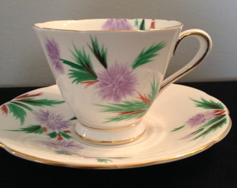 Tuscan Fine China Teacup and Saucer hand painted.