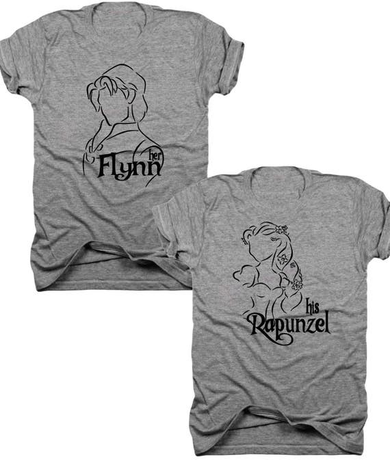 2-Pack Her Flynn, His Rapunzel, couples tees, his and hers, mr and mrs, rapunzel and Flynn, dad and mom, mr and mrs shirts, (B075)