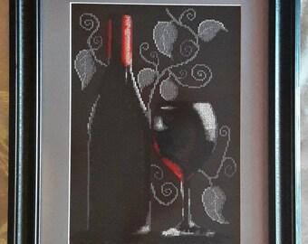 """Goblen-Gobelin-box point of cross/tapestry """"Bottle of red wine"""" 43x35cm"""
