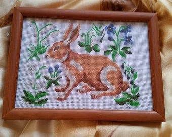 Framed cross stitching art RABBIT