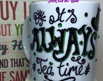 Mad Hatter 'Its always tea time' hand painted mug