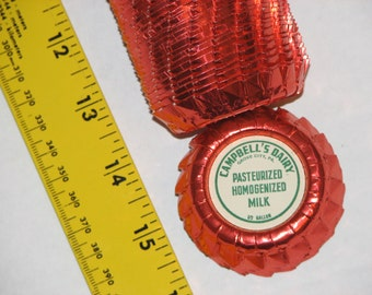 Many vintage foil milk bottle caps from Campbell's Dairy in Grove City Pennsylvania   (PA), w/gospel tract.