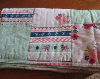 Patchwork Baby Quilt, Girls, Roses, Mint Green, Navy, Reversible