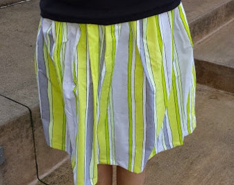 Neon green striped skirt