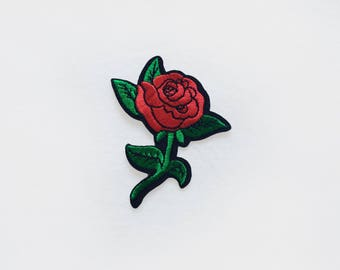 1x red rose PATCH  Iron On Embroidered Applique love plant flower romantic tattoo
