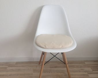 Seat cover in beige natural color cotton with zipper cream