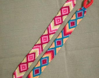 Colorful braided bracelet, Handwoven bracelet, Knotted bracelet, Wrist band, Diamond pattern, String bracelet, Friendship bracelet