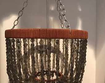 Recycled glass beaded Chandelier