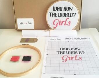 CROSS STITCH KIT | Beyonce 'Who Run the World?' Cross Stitch Kit