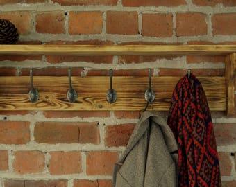 Wall mounted coat rack and shelf with cast iron hooks and charred wood finish (Shou Sugi Ban)