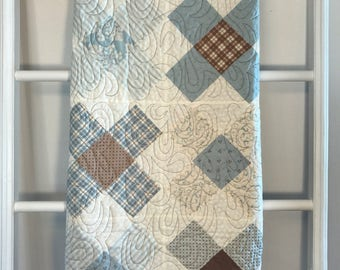 Ready to Ship Blue and Brown Minky Baby Quilt, baby boy quilt, baby quilt, minky quilt