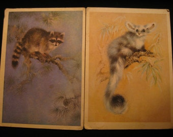 Set of 3 vintage postcards with animals 1980