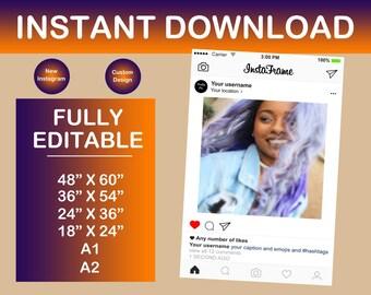 Customized Instagram Frame Prop! Photo Booth Instagram Prop!