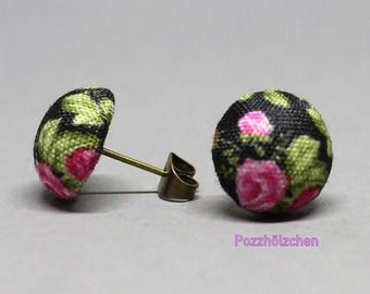 Cloth ear plugs - Pink Roses 13mm