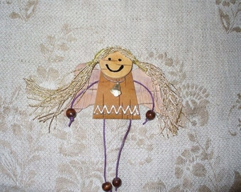 magnets made of birch bark angel
