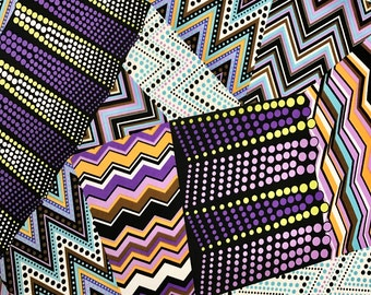 Purple Zig Zag Spandex Fabric