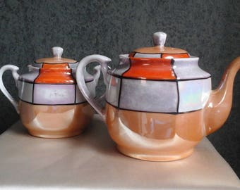 Japanese Vintage Lusterware Teapot and Sugar Bowl