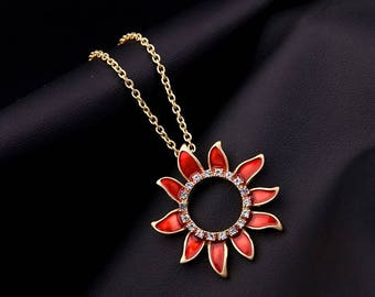 Red Sunflower Necklace. Flower Necklace, Red Necklace, Gift necklace
