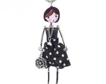 Doll Necklace, Black Dress Necklace, Long Doll Necklace