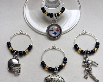 Steelers Black and Yellow Football Wine Charms
