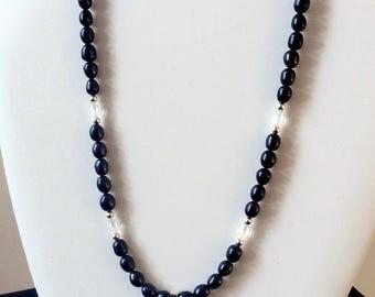 Black pearl necklace with Swarovski pendant