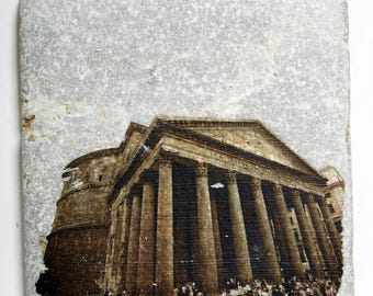 T144 Handmade Stone Tile - The Parthenon in Rome, Italy