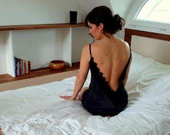 Lace-trim Satin Slip Black Nightie V-neck Adjustable Straps No Closure Night Gown