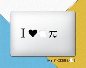 Apple Logo MacBook Decal Creative Apple Logo MacBook Sticker I Love Apple Pie Sticker Maths Pi Symbol Sticker Maths MacBook Decal Vinyl m053