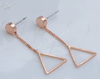 Trendy earrings * rose gold * triangle * triangle