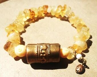 Meditative Prayer Wheel on Citrine Crystals