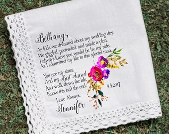 Wedding Handkerchief, Sister Handkerchief, Maid of Honor handkerchief, Sister thank you gift, custom handkerchief, Printed Hankie -17