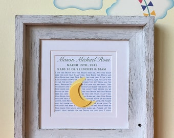 Baby Boy Nursery Wall Art  | I See The Moon Print | Art For Nursery | Baby Boy Room Decor | Birth Information | Baby Shower Gift