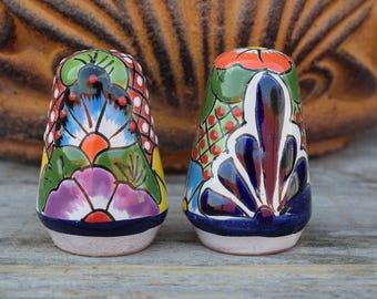 Talavera Ceramic Salt & Pepper Shaker Hand Painted Hand Made Home Decor Kitchen Mexican Art Deco