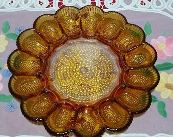 "Vintage Hobnail Amber Indiana Glass Deviled Egg & Relish Tray-11""-15 eggs"