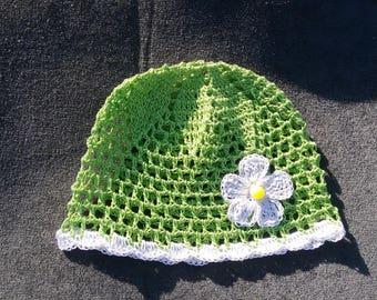 Newborn girl hat,crochet hat,crochet baby hat,baby schower present,green hat,summer hat
