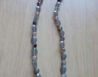 Tiger eye gemstone chain on beaded necklace