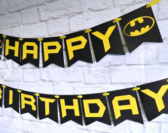 25%OFF BATMAN Birthday Banner ~ Photo Prop ~ Boys Birthday Party Decorations ~ Happy Birthday ~ Superhero Decorations ~ Superhero Birthday P