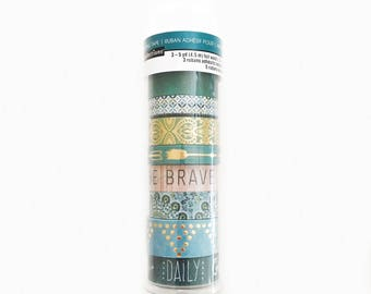 Set of 8 Washi Tapes, Recollections, Blue / Green / Gold