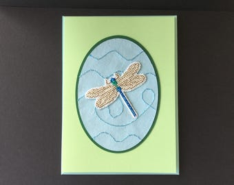 Dragonfly handmade card, Birthday, greetings, thank you, lady, aunt, grandma, blank, cross-stitched.